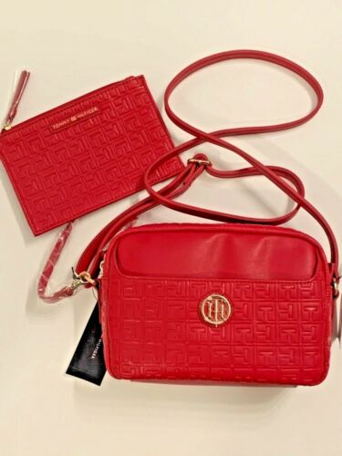 Tommy Hilfiger TH Logo Designer Crossbody /&Pouch Set Bag Purse Synthetic Leather