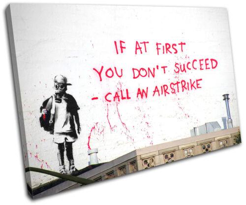 Airstrike Banksy Street SINGLE CANVAS WALL ART Picture Print VA