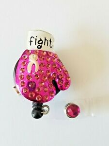 Breast cancer boxing glove  badge reel