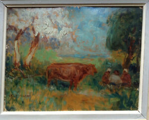Antique-Oil-French-Impressionist-Painting-Cows-next-to-Lunch-by-Cassius-Vignau
