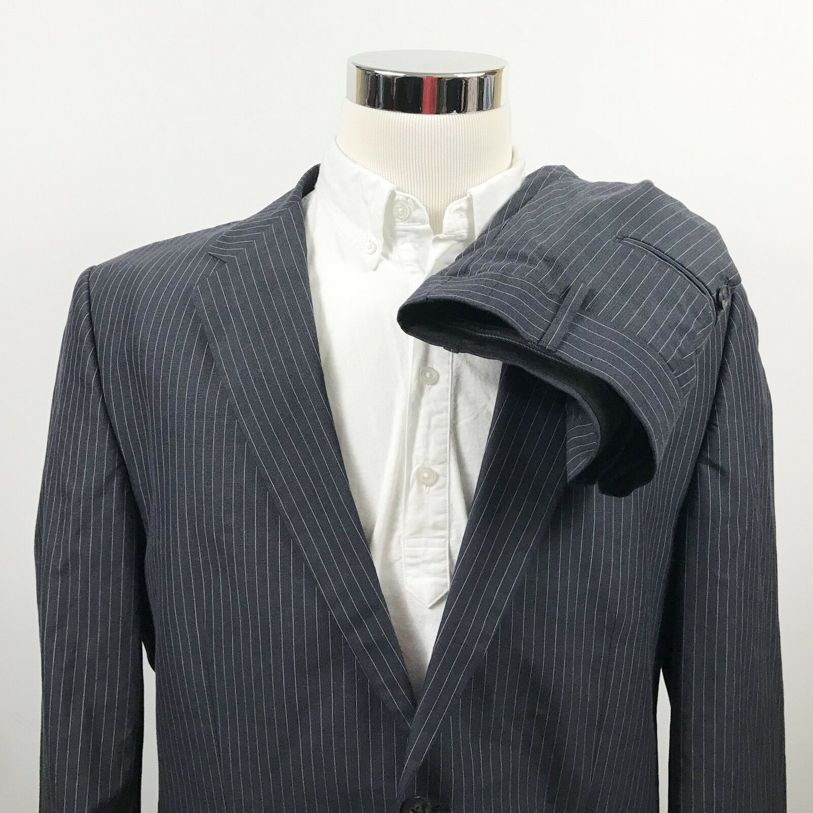 NWT Express 44L Suit 38 x 30 Flat Front Charcoal Pinstripe Two Button Cotton