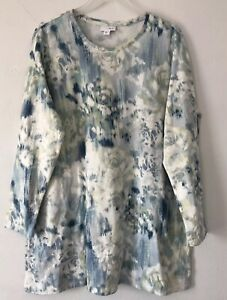 NEW-J-JILL-XS-XL-L-S-Knit-Tunic-Pockets-Top-Floral-Pima-Cotton-Blue-Green