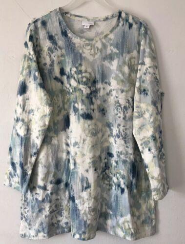NEW J.JILL XS XL L//S Knit Tunic Pockets Top Floral Pima Cotton Blue Green
