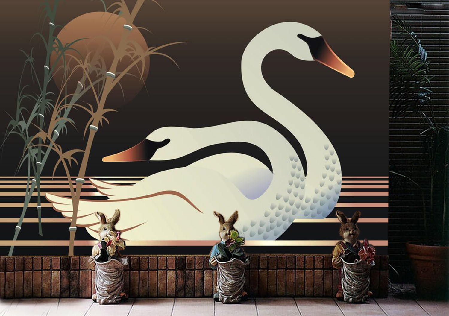 3D White swan 5646 Wall Paper Print Wall Decal Deco Indoor Wall Murals
