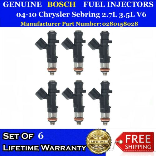 6x Genuine Bosch Fuel Injectors for 04-10 Chrysler Sebring 2.7L 3.5L #0280158028