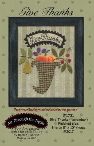 November BOM Stitchery Wool Applique Pattern by Bonnie Sullivan Give Thanks