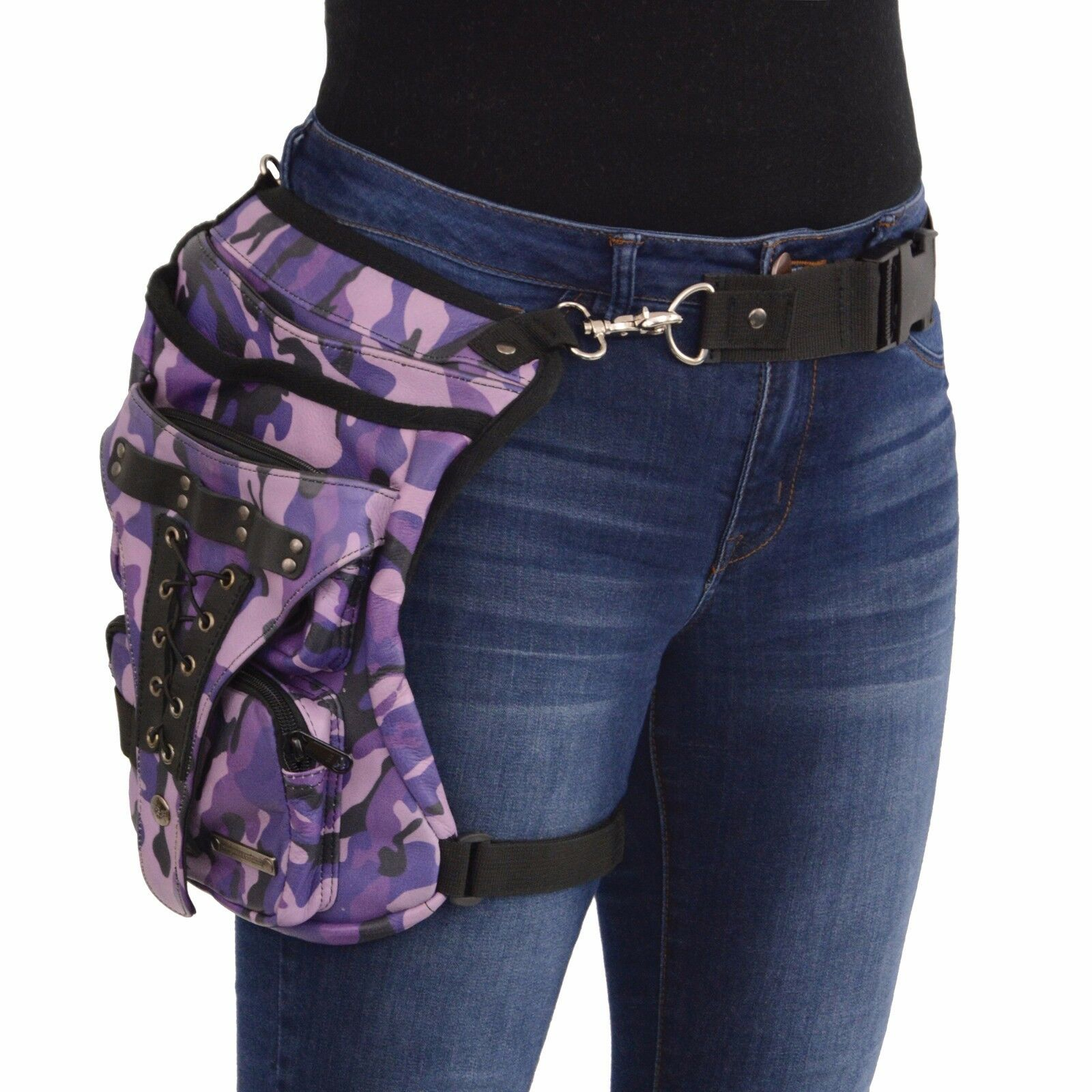 Conceal & Carry Purple Camouflage Camouflage Camouflage Leather Thigh Bag W  Waist Belt - MP8886 e51674