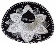 Youth Mexican Mariachi Hat Sombrero Charro Cinco de Mayo Folk Art Black Silver