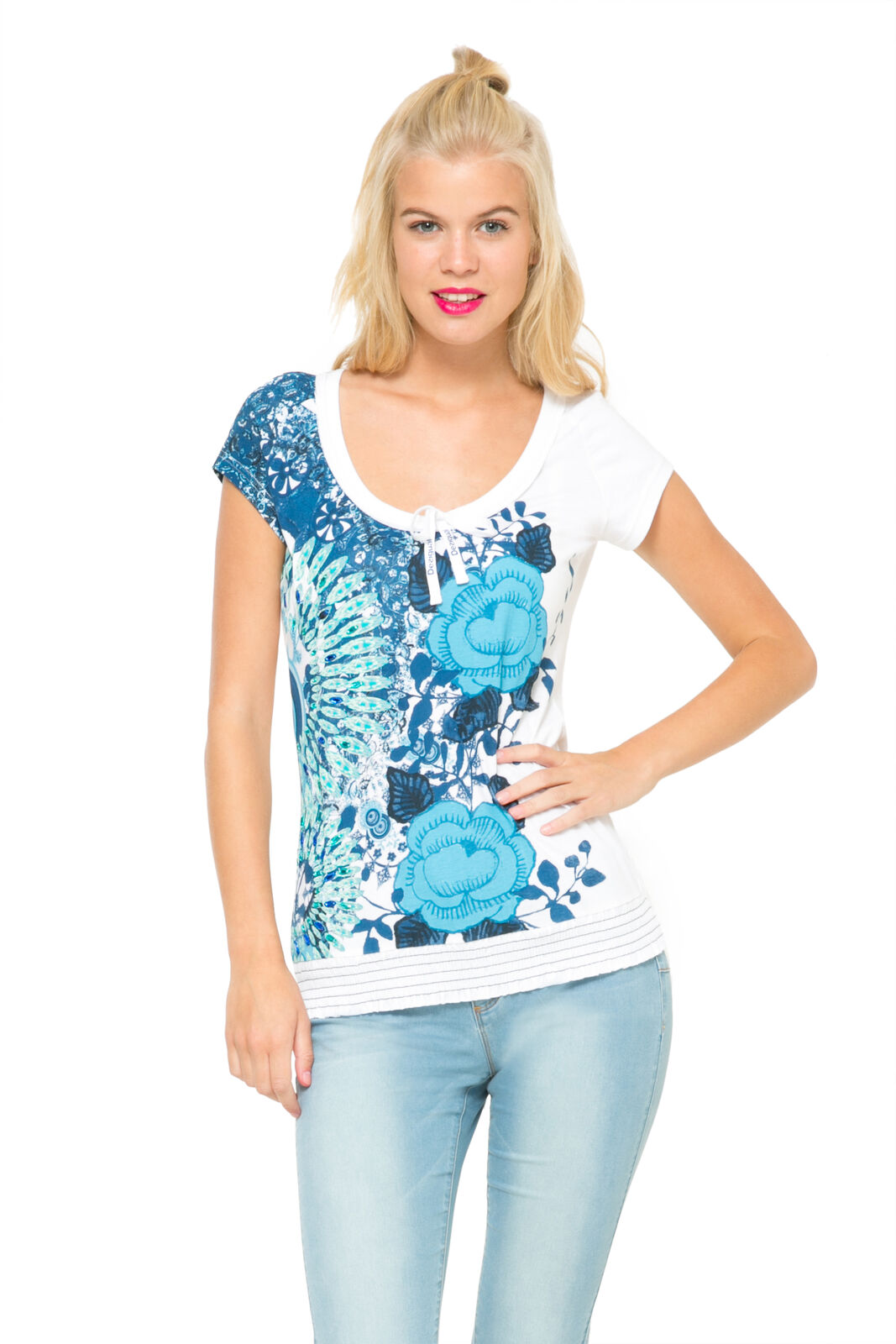 Desigual  Weiß & Blau Floral Rouched Neck Cherain T-Shirt S-XXL RRP54