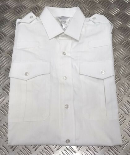 Genuine British Military Issue White Shirt L S Sleeve Radio Loops Ex-Display