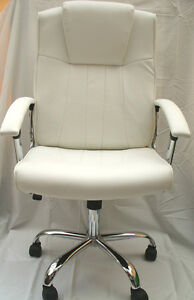 New Stylish White Beige Leather Office Home Study Computer Chair Tilt Swivel - <span itemprop=availableAtOrFrom>redditch, Worcestershire, United Kingdom</span> - Returns are accepted within 14 days of purchase, as long as the item is returned in it's original condition. The buyer bares all return costs. Most purchases from busines - redditch, Worcestershire, United Kingdom