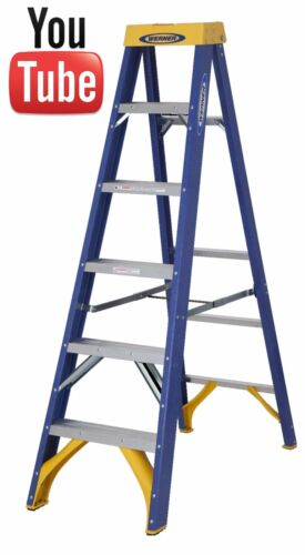 Werner 718 Series Fibreglass Swingback Stepladder 412 Tread Industrial New