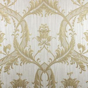 Image Is Loading Milano Cream And Gold Damask Wallpaper Heavyweight Italian