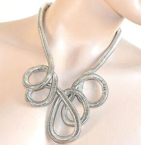 COLLANA donna argento girocollo serpente metallo elegante cerimonia festa A75