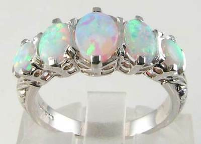 HUGE 9K WHITE GOLD VICTORIAN INS FIERY AUS OPAL RING