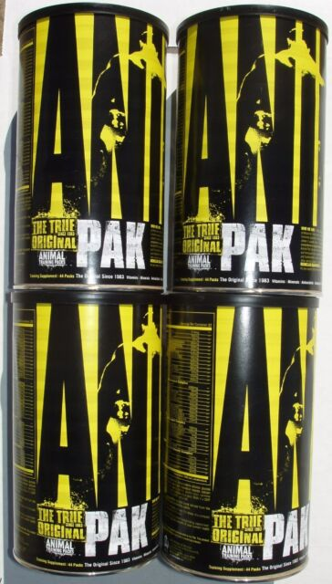 4 Universal Animal Pak Performance Multivitamins 176 packets of vitamins 4 cans