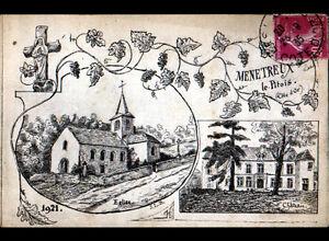 MENETREUX-LE-PITOIS-21-EGLISE-amp-CHATEAU-illustres-1921-voyagee-en-1935