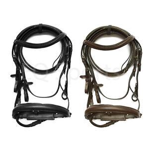 Fss allemand noir avec brown rembourrage confort casque dressage bride rênes neuf