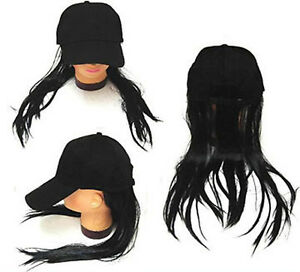 36ee3f93754 BASEBALL CAP W LONG BLACK FAKE HAIR funny costume hat wig MEN WOMEN ...