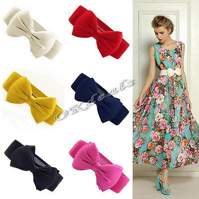 2015 Fashion Women Bowknot Elastic Bow Wide Stretch Buckle Waistband Waist Belt
