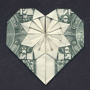 Origami Heart RING Folded Real One Dollar Bill Stock Image - Image ... | 300x300
