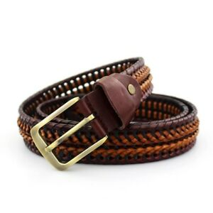 Mens-Luxury-Belts-Genuine-Leather-Braided-Real-Cow-Skin-Strap-Jeans-Wide-Girdle