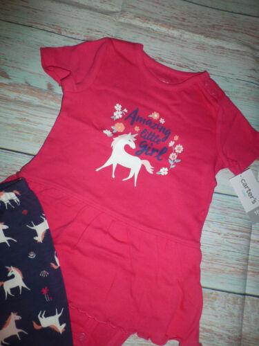 NWT Carters Unicorn Baby Girls Ruffle Peplum Bodysuit Leggings Outfit