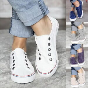 Womens-Denim-Canvas-Loafers-Pumps-Casual-Slip-On-Flat-Trainers-Sneakers-Shoes-US