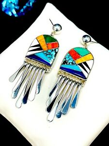 NWT RARE CALVIN BEGAY STERLING SILVER NAVAJO INLAY STONE DANGLE PIERCED EARRINGS
