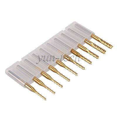 "10pcs 1/8"" Shank 1.5mm-3.175mm Cutting PCB End Mill Bit Tool Titanium Coating"
