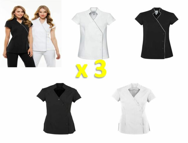 3 PACK - Ladies Zen Tunic Crossover Chemist Beauty Salon Medical Wear WOMENS