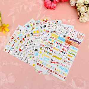 6Sheet Lovely Clear Calendar Diary Notebook Sticker Scrapbook Photo Decor DIY