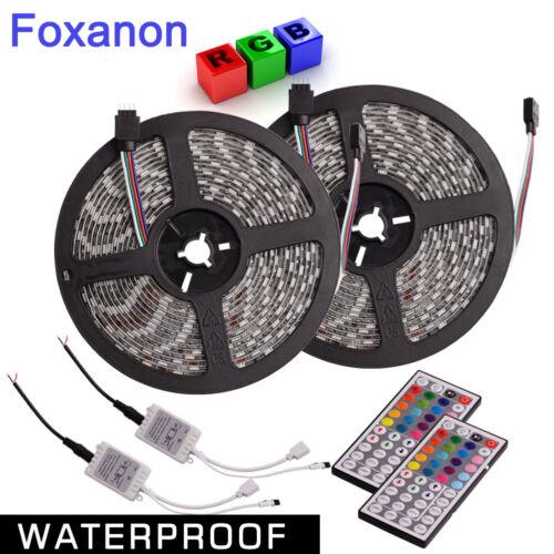 2X Waterproof RGB 5M 5050 SMD 300 LED Flexible Strip /& 44 Key Remote Control 12V