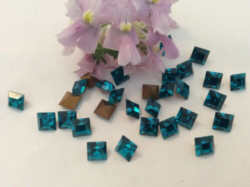 Vintage Swarovski #4400 Squares Foiled Blue Zircon 6x6mm CRAFT REPAIR Pack of 6