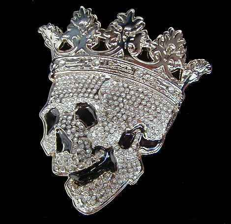 LARGE SIZED RHINESTONE COVERED SKULL WITH CHROME CROWN BELT BUCKLE NEW BLING!