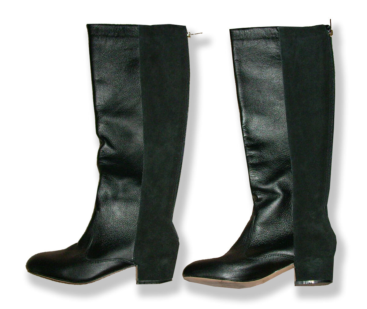 Gorgeous Black Suede and Leather Knee High Boots w/Covered Heel-10B-Fits 9-10
