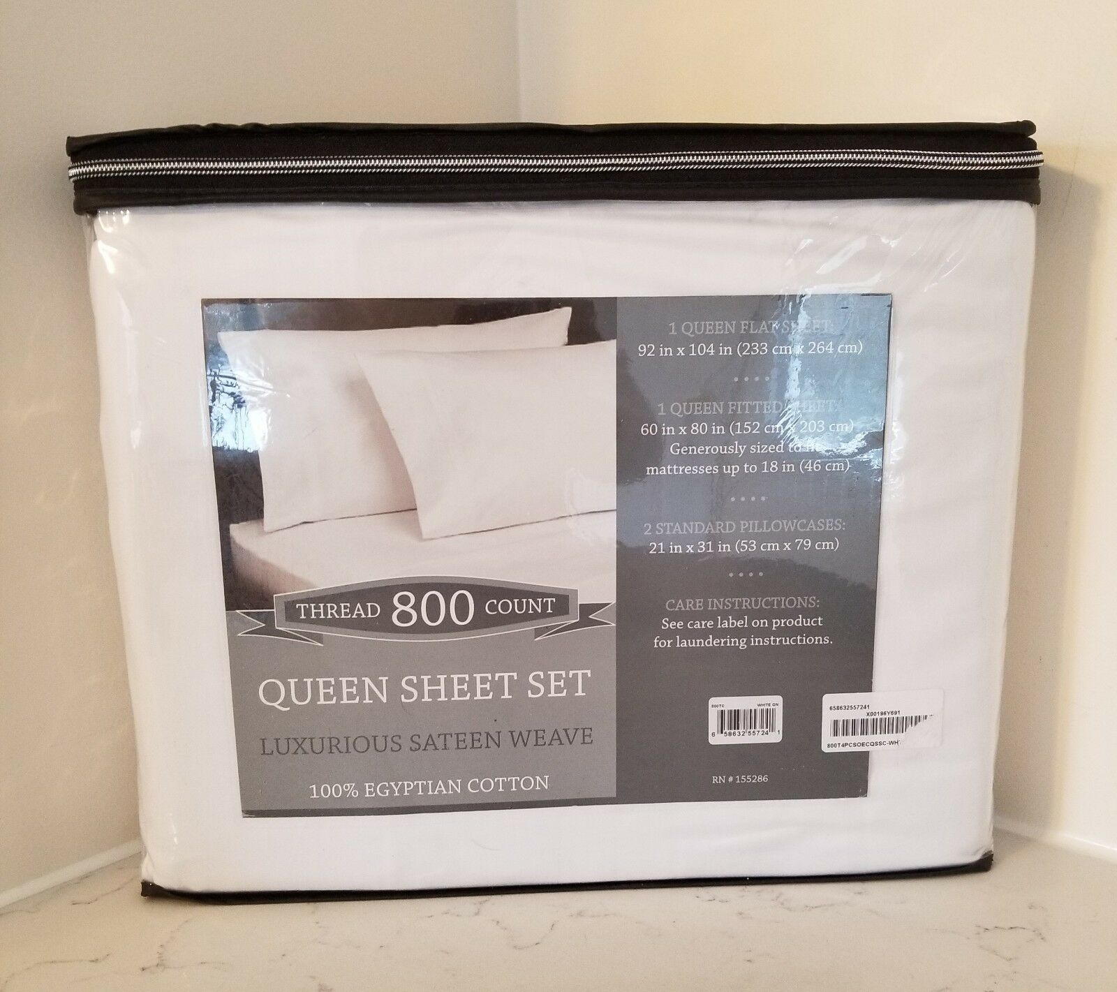 100% Egyptian Cotton Queen Sheet Set Luxurious Sateen Weave 800 Thread Count Wht
