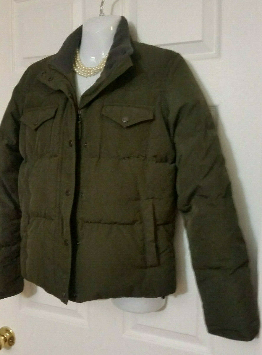 Ralph Lauren Dk Green Quilted Puffer Down Coat Coat Coat Women's Unisex Style S EXCELLENT  470cd0