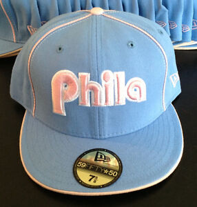 2fd032f6f16 Philadelphia 76ers NEW ERA 59FIFTY NBA Licensed Hat Baby Blue Pink ...
