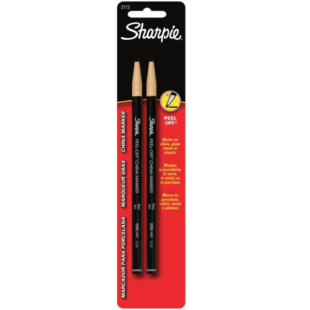12 Sharpie Black Peel Off China Marker Great for Writing On Glass Metal Plastic