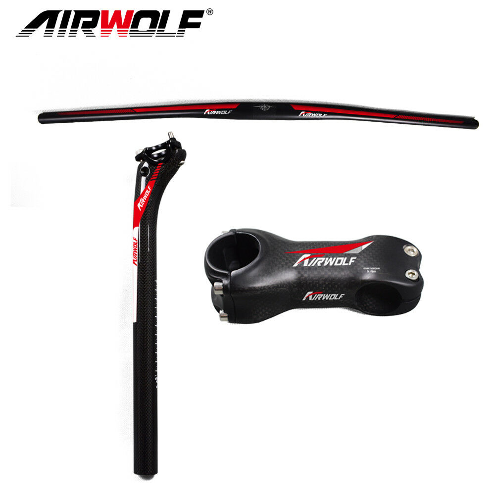 Airwolf carbon fiber mtb bike handlebar seatpost stem mountain bicycle 3pcs 3K