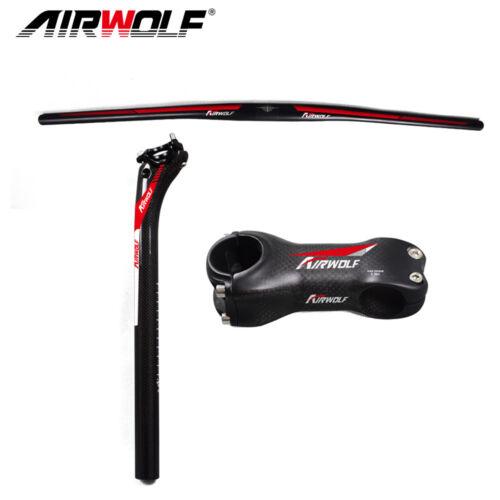 Airwolf carbon fiber mtb bike handlebar//seatpost//stem mountain bicycle 3pcs 3K