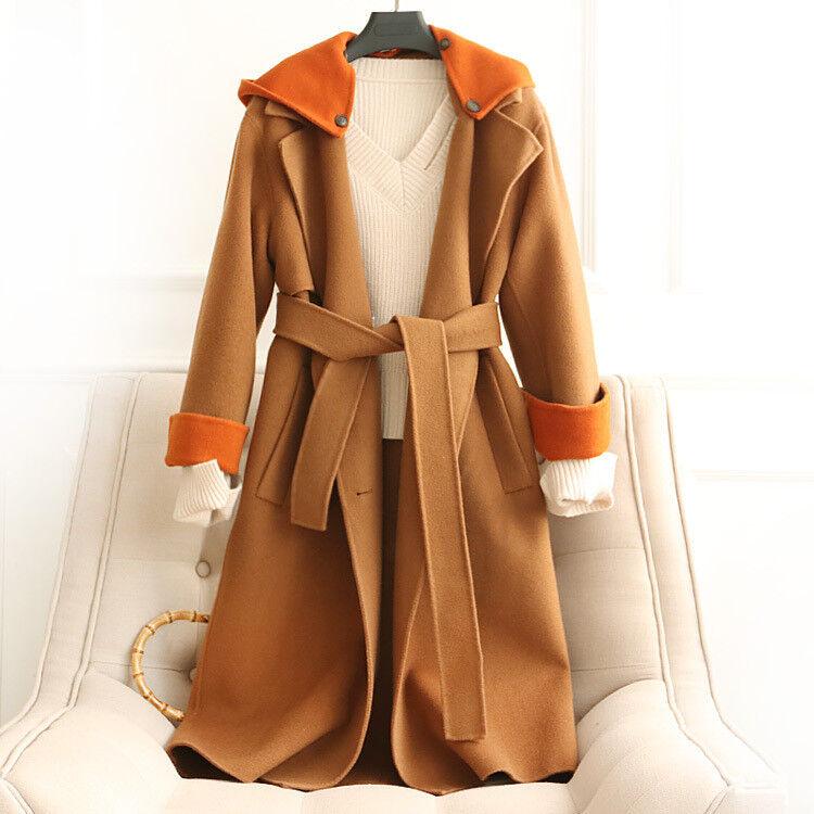 Winter women double-sided woolen coat 100% wool hooded