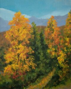 """Original oil painting 10x8"""" Path in the autumn forest landscape"""