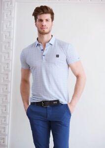 Mondo Men's Italian Fashion Short Sleeve polo buttoned shirt Light ...