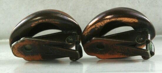 VTG COPPER FRANK REBAJES CLIP EARRINGS - image 2