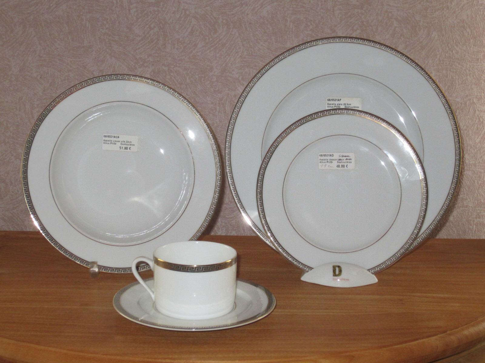 PHILIPPE DESHOULIERES NEW ATHOS 6531 Set 3 Assiettes + 1 Tasse Plates + Cup