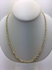 """New 14K Yellow Gold 18"""" Hollow Diamond Cut Rope Chain Necklace 5 grams 3 mm"""