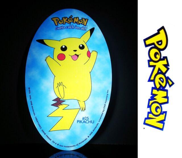1999 Nintendo Pokemon Oval Pikachu #25 vinyl sticker Plus FREE BONUS Pikachu