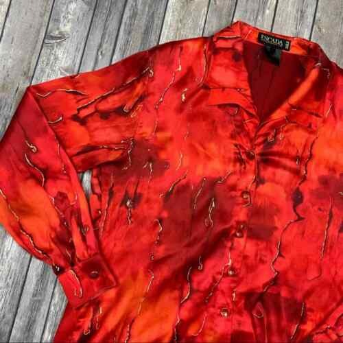 Escada Margaretha Ley red silk blouse